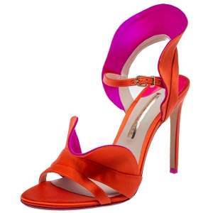 Sophia Webster Orange Satin Lucia Sandals Size 39.5