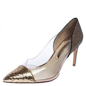 Sophia Webster Gold/Bronze Glitter And PVC Daria Pumps Size 40.5