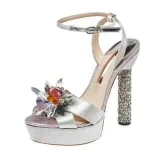 Sophia Webster Grey Velvet Glacia Embellished Platform Ankle Strap Sandals Size 39