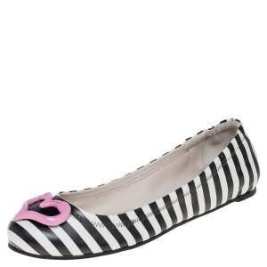 Sophia Webster White/Black Leather Miami Stripe Ballet Flat Size 38