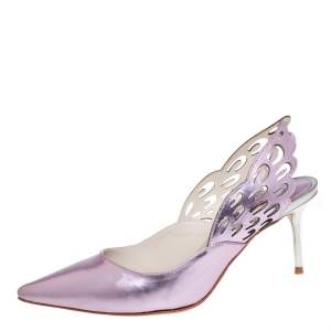 Sophia Webster Metallic Pink Leather Angelo Slingback Pumps Size 38