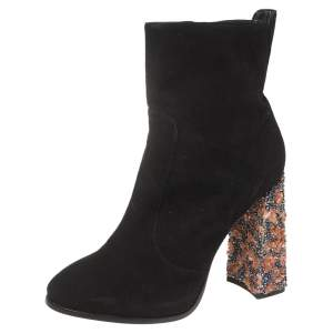 Sophia Webster Black Suede Leather Felicity Ankle Boots Size 41.5