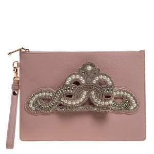 Sophia Webster Powder Pink Leather Flowwy Royalty Wristlet Clutch