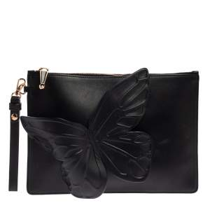 Sophia Webster Black Leather Butterfly Wristlet Clutch