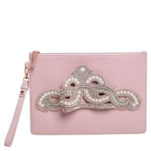 Sophia Webster Powder Pink Leather Flowwy Royalty Wristlet Clutch