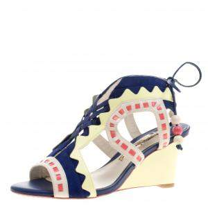 Sophia Webster Multicolor Leather and Suede Raya Wedge Sandals Size 36