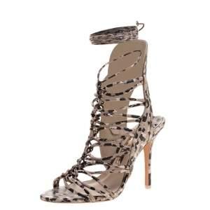 Sophia Webster Beige Leopard Print Leather Lacey Tie Up Sandals Size 39.5