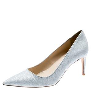 Sophia Webster Metallic Silver Glitter Lola Pointed Toe Pumps Size 41.5
