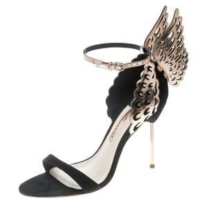 Sophia Webster Black Suede and Laser Cut Rose Gold Leather Evangeline Open Toe Sandals Size 35