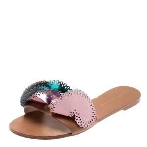 Sophia Webster Metallic Multicolor Laser Cut Leather Soleil Flat Slides Size 39