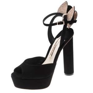 Sophia Webster Black Suede Raye Bow Ankle Strap Platform Sandals Size 38.5