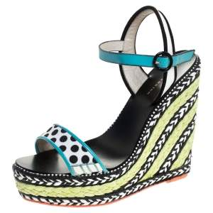 Sophia Webster Multicolor Polka Dot Canvas And Leather Lucita Espadrille Wedges Sandals Size 39