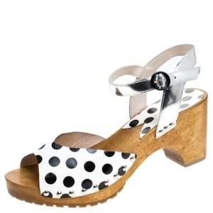 Sophia Webster Monochrome Polka Dot Leather Ava Ankle Strap Sandals Size 40