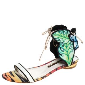 Sophia Webster Multicolor Leather And Fabric Rousseau Jungle Flat Sandals Size 37.5