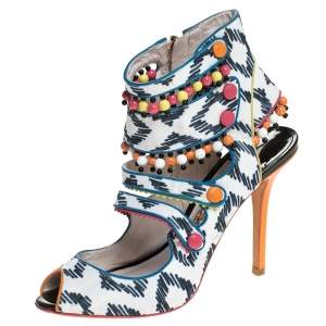 Sophia Webster Multicolor Strappy Leather Beaded Caged Sandals Size 39
