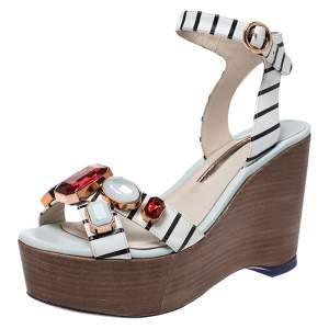 Sophia Webster White Striped Leather Gem Embellished Amanda Wedge Sandals Size 38.5