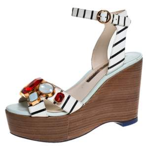 Sophia Webster White/Black Striped Leather Suki Gem Embellished Wedge Platform Sandals Size 37.5