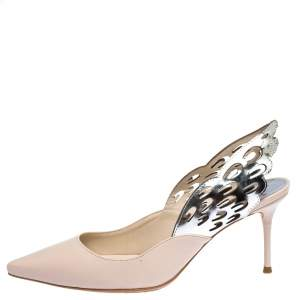 Sophia Webster Silver/Nude Leather Angelo Slingback Pumps Size 36