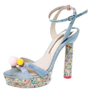 Sophia Webster Blue Glitter Fabric Loren Dreamy Crystal Embellished Platform Sandals Size 37.5