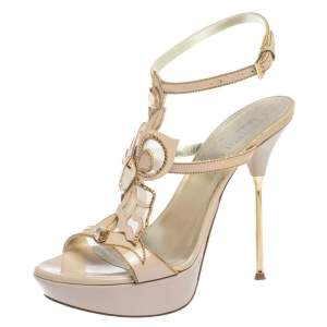 Loriblu Pink Patent Leather Crystal And Chain Embellished Cut Out Platform Sandals Size 37