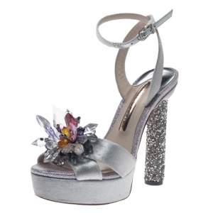 Sophia Webster Silver Velvet Glacia Embellished Platform Ankle Strap Sandals Size 35.5