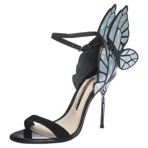 Sophia Webster Multicolor Holographic Leather and Black Suede Chiara Butterfly Ankle Strap Sandals Size 35.5