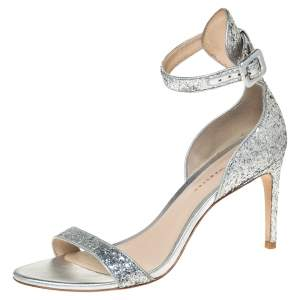 Sophia Webster Silver Glitter Fabric Nicole Sandals Size 39