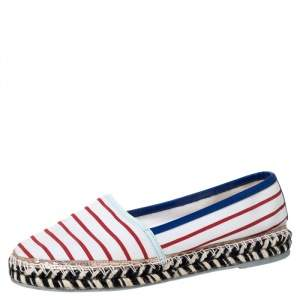 Sophia Webster Multicolor Striped Canvas Platform Espadrille Flats Size 38