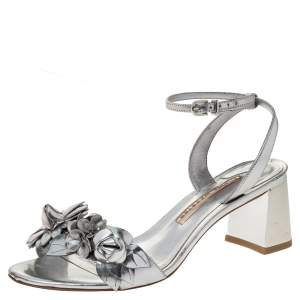 Sophia Webster Sliver Leather Floral Embellished Lilico Ankle Strap Sandals Size 37