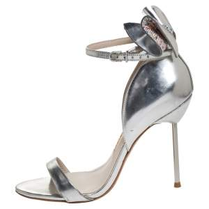 Sophia Webster Metallic Silver Leather Maya Crystal Embellished Bow Ankle Strap Sandals Size 37.5