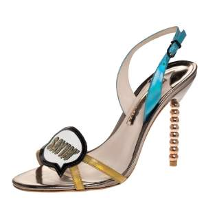 "Sophia Webster Metallic Multicolor Leather ""Just Saying"" Slingback Sandals Size 39"