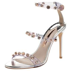 Sophia Webster Sliver Leather And PVC Crystal Embellished Ankle Strap Sandals Size 37