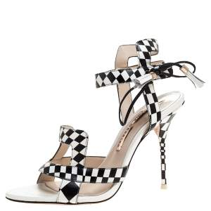 Sophia Webster Monochrome Checkered Leather Poppy Ankle Wrap Sandals Size 38