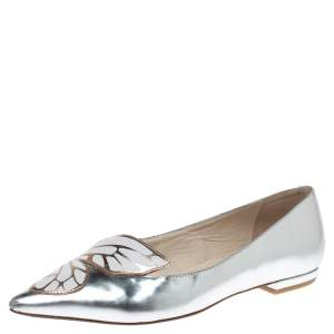 Sophia Webster Metallic Silver Leather Bibi Butterfly Pointed Toe Ballet Flats Size 37.5