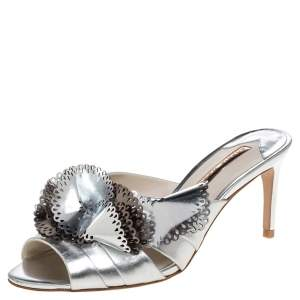 Sophia Webster Metallic Silver Laser Cut Leather Soleil Mules Size 36