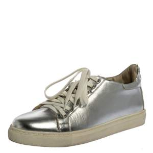 Sophia Webster Metallic Silver Leather Bibi Butterfly Sneakers Size 37.5