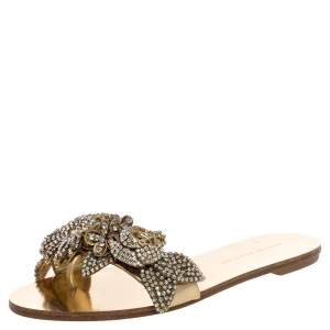Sophia Webster Gold Mirror Leather Lilico Crystal Embellished Slide Flats Size 36.5