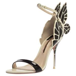 Sophia Webster Black/White Patent Leather and Leather Chiara Butterfly Wing Open Toe Sandals Size 39.5
