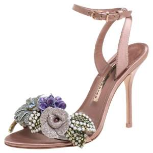 Sophia Webster Beige Satin And Glitter Flower Lilico Ankle Wrap Sandals Size 36