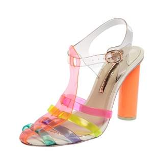 Sophia Webster Multicolor PVC Strappy Ankle Strap Sandals Size 40