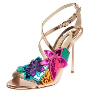 Sophia Webster Rose Gold Patent Leather Hula Floral Embellished Crisscross Sandals Size 37
