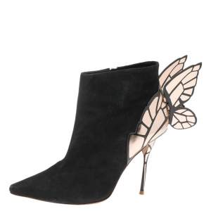 Sophia Webster Black/Rose Gold Suede Chiara Wing Ankle Boots Size 39