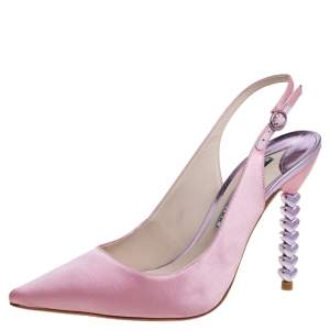 Sophia Webster Pink Satin Tyra Slingback Sandals Size 39