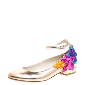 Sophia Webster Metallic Bronze Leather Floral-Applique Ankle-Strap Ballet Flats Size 38