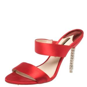 Sophia Webster Red Satin Crystal Embellished Heel Slide Mules Size 40