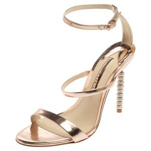 Sophia Webster Rose Gold Leather Rosalind Crystal Heel  Sandals Size 39