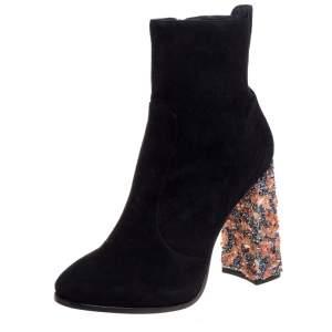 Sophia Webster Black Suede Kendra Ankle Boots Size 41.5