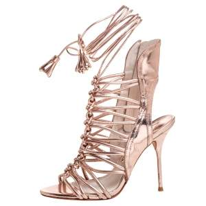 Sophia Webster Metallic Rose Gold Leather Peep Toe Cage Sandals Size 36