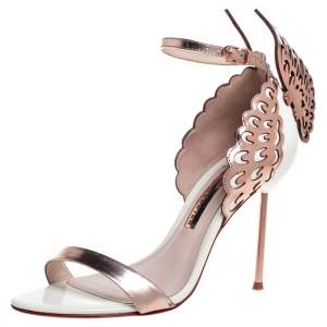 Sophia Webster Rose Gold/White Leather Evangeline Laser Cut Angel Wing Ankle Strap Sandals Size 38.5