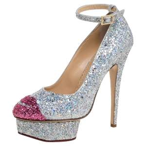 Sophia Webster Multicolor Glitter Kiss Me Dolores! Ankle Strap Platform Pumps Size 38.5